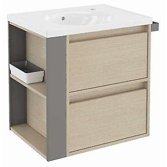 Bath+ Cabinet 2 drawers with porcelain sink Oak-Grey 60CM