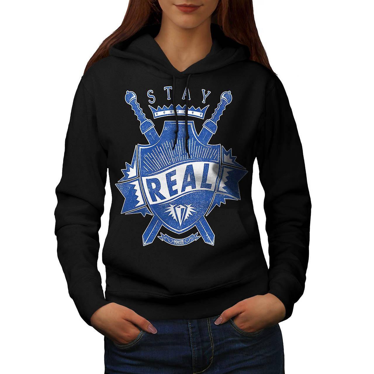 Stay Real Ambition Sword Shield Women Black Hoodie | Wellcoda