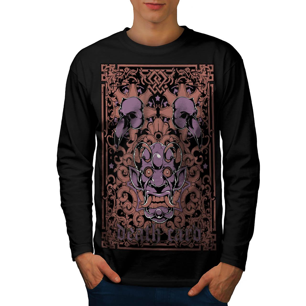 Devil Death Card Bird Gambling Men Black Long Sleeve T-shirt | Wellcoda