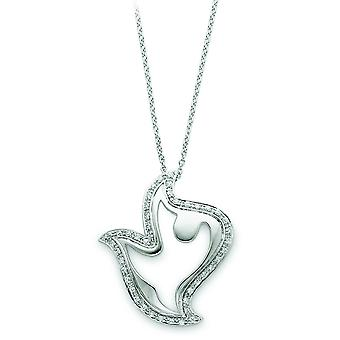 Sterling Silver and CZ Dove Necklace - 18 Inch