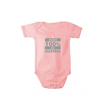 Baby body with shiny silver print made in Austria