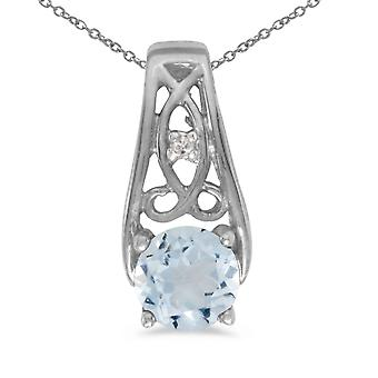 10k White Gold Round Aquamarine And Diamond Pendant with 16