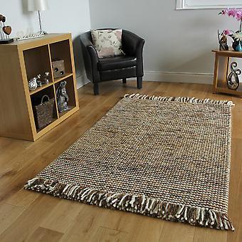 Brown Beige Modern Wool Rug Valencia