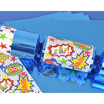 8 Blue Foil Superhero Make & Fill Your Own Party Crackers - Craft Kit
