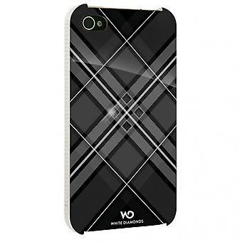White DIAMONDS Grid Black iPhone 4s Shell