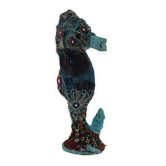 قماش ساري هندي خمر الأزرق ملفوفة النحت حصان البحر