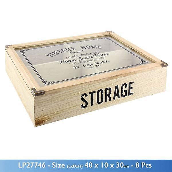 Vintage Home Kitchen 4 Compartment Wooden Storage Display