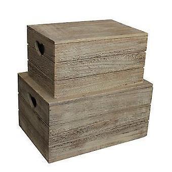 Sæt 2 Oak effekten hjerte Cut håndtag træ låg opbevaringsboks