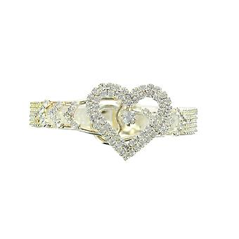 Slim Silver Heart Diamante Bangle With Clasp