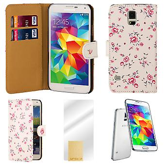 Flower book PU leather case cover for Samsung Galaxy S5 (SM-G900) - Baby Pink