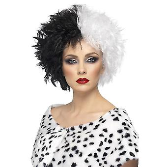 Evil Madam wig black and white short curly