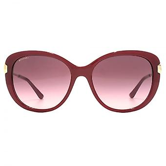 Bvlgari Metal Circle Hinge Sunglasses In Tri Layer Burgundy