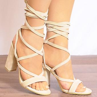 Koi Couture Nude Lace Up Heels - Ladies Db66 Nude Lace Ups Peep Toes Strappy Sandals High Heels