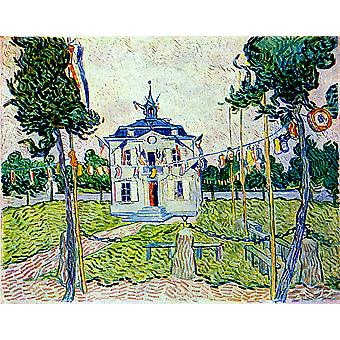Vincent Van Gogh - Auvers Town Hall in 14 July 1890 Poster Print Giclee