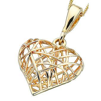 9 ct gull hjerte halskjede