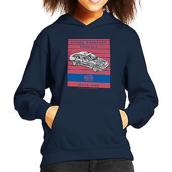 Haynes Workshop Manual 0904 Ford Sierra V6 4X4 Stripe Kid's Hooded Sweatshirt