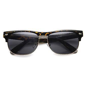 Classic Oval Half Frame Horned Rim Horn Rimmed Sunglasses