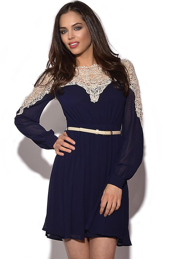Little Mistress Lace Top Navy Dress