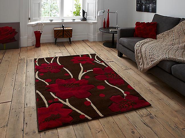 Verona-216-braun-rot-braunen und roten Rechteck Teppiche moderne Teppiche