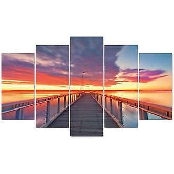 Wellindal Pyramid 5 Pieces Canvas Pier At Sunset- Hpp048-87