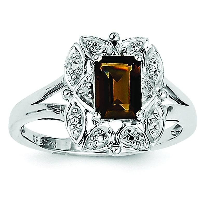 Sterling argent Diamond and Smoky Quartz Ring - Ring Taille  6 to 9