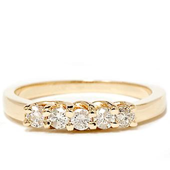 Yellow Gold 1/2ct 14K Diamond Wedding Guard Ring New