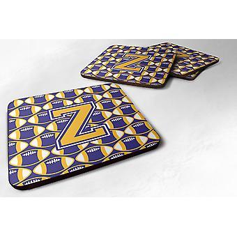 Conjunto de 4 letra Z del balompié púrpura y oro la espuma portavasos juego de 4