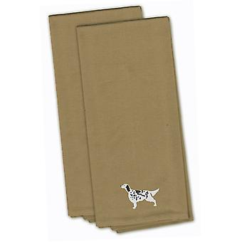 English Setter Tan Embroidered Kitchen Towel Set of 2