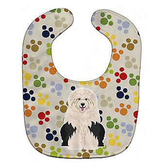 Carolines skatter BB5925BIB Pawprints Old English Sheepdog Baby Bib