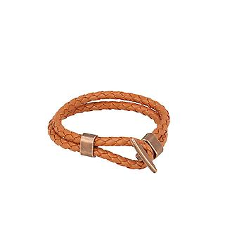 Baxter jewelry London leather bracelet braided whiskey Brown Schmuck lock bronze 21 cm