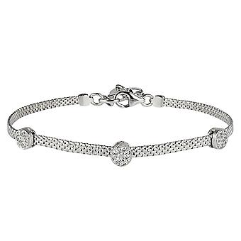 Sterling Silver 925 Womens Timeless Bracelet with Swarovski White Cubic Zirconia Stones Round Charms