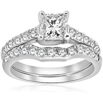 1 1/2 ct プリンセス カット ダイヤモンド婚約指輪結婚指輪セットをマッチングの強化