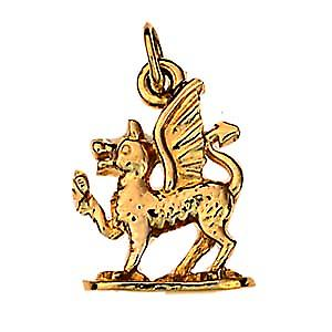 9ct Gold 18x15mm Welsh Dragon Charm