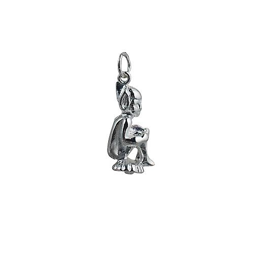 Silver 22x11m seated Leprechaun Pendant or Charm