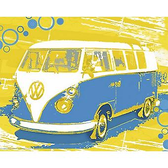 Vintage VW Bus Poster Print by Michael Cheung (19 x 15)