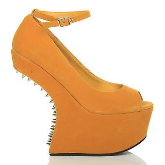 Ajvani womens high heelless wedge platform mary jane pony court shoes