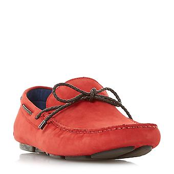 Dune Mens BARNSTABLE Plait Lace Driver loafer in Red