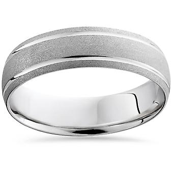 Mens 10K White Gold Comfort Sandblast Finish Wedding Band