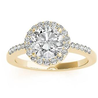 2 1 / 2ct Runde Halo DiamantVerlobungsring 14K Gelbgold