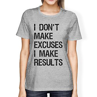 Excuses Results Womens Grey Cool T-Shirt Funny Fitness Tee Shirt