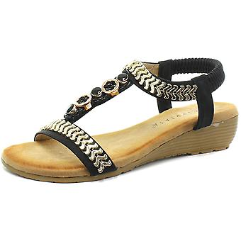 Cipriata Camilla Black Womens Jewelled Sling Back Sandals