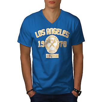 Los Angeles California Men Royal BlueV-Neck T-shirt   Wellcoda