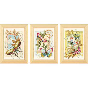 Deco Butterflies Minitures On Aida Counted Cross Stitch Kit-3
