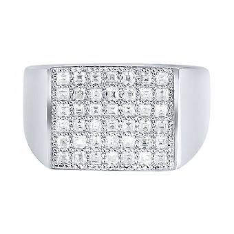 Sterling 925 Silver pave ring - FLAT