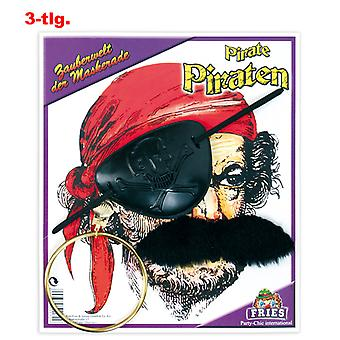 Pirate set earring eyepatch moustache set pirate Sea robber accessory