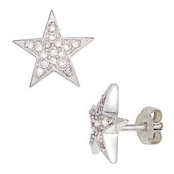 Oor plug ster rhodium-plated 925 Sterling zilveren oorbellen met Zirkonia