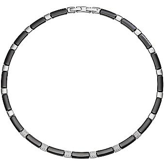 Collier Black ceramic with stainless steel and zirconia necklace 47 cm chain