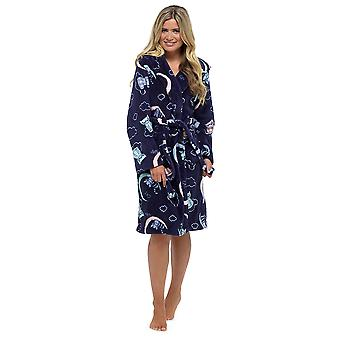 Ladies Tom Franks Warm Printed Fleece Hooded Wrap Around Bathrobe Dressing Gown