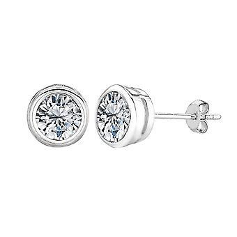 Finition Rhodium argent sterling rond lunette réglée zircon cubique Stud Earring