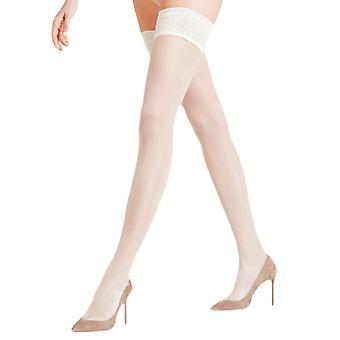 Falke Seidenglatt 15 Den Stay Up Transparent Stockings - Off White